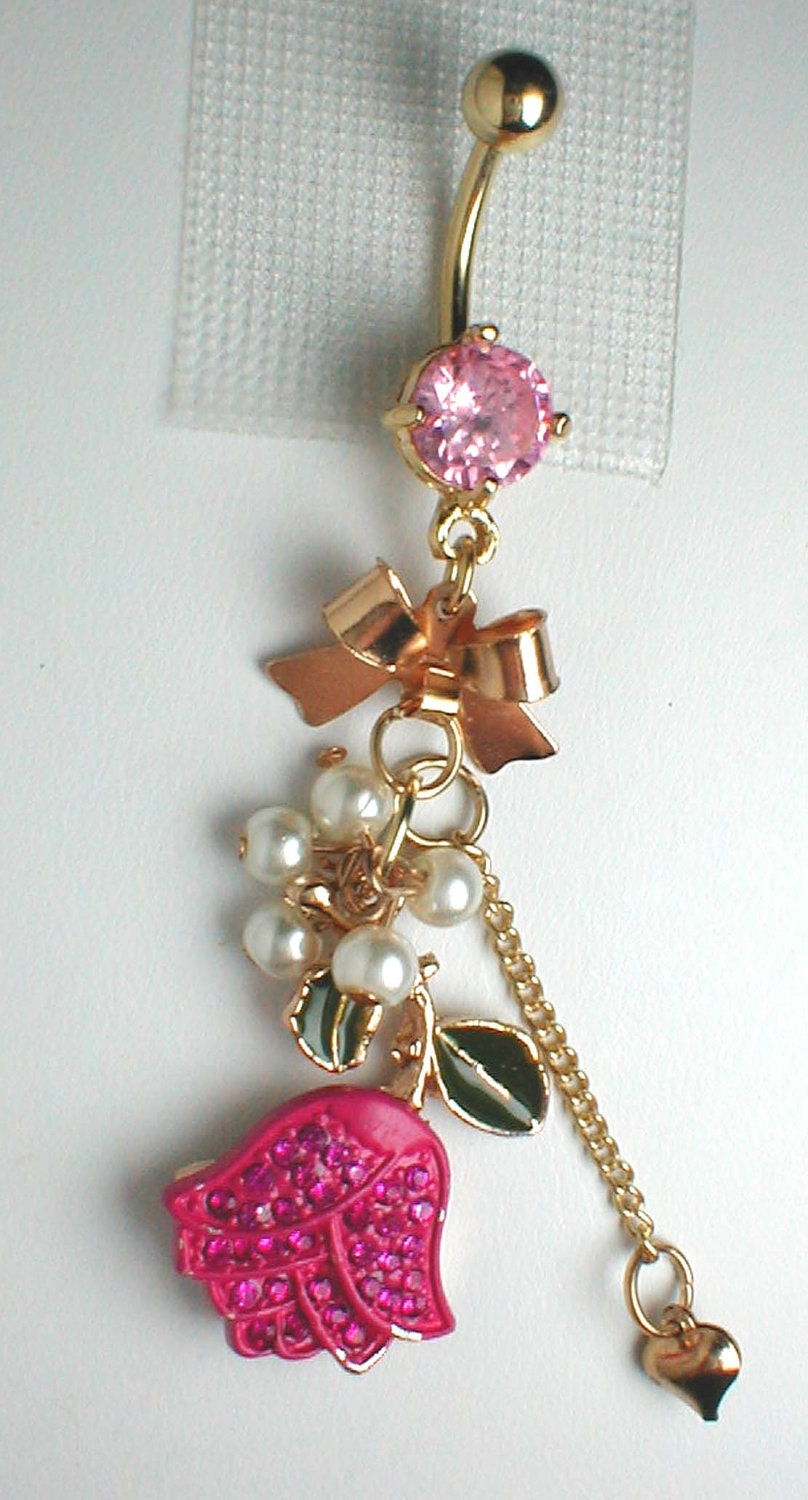 Unique Belly Ring Pink Tulip