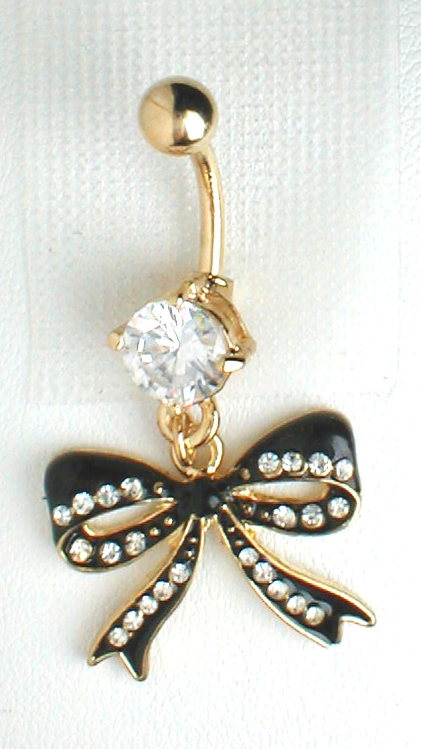 unique belly ring betsey johnson bow pendant on belly ring