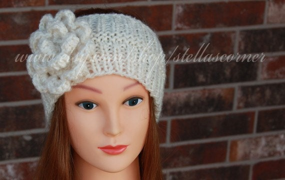 Knitting Pattern For A Headband With Flower : Items similar to Knitted White Headband, White Knit Headband,Knitted Headband...