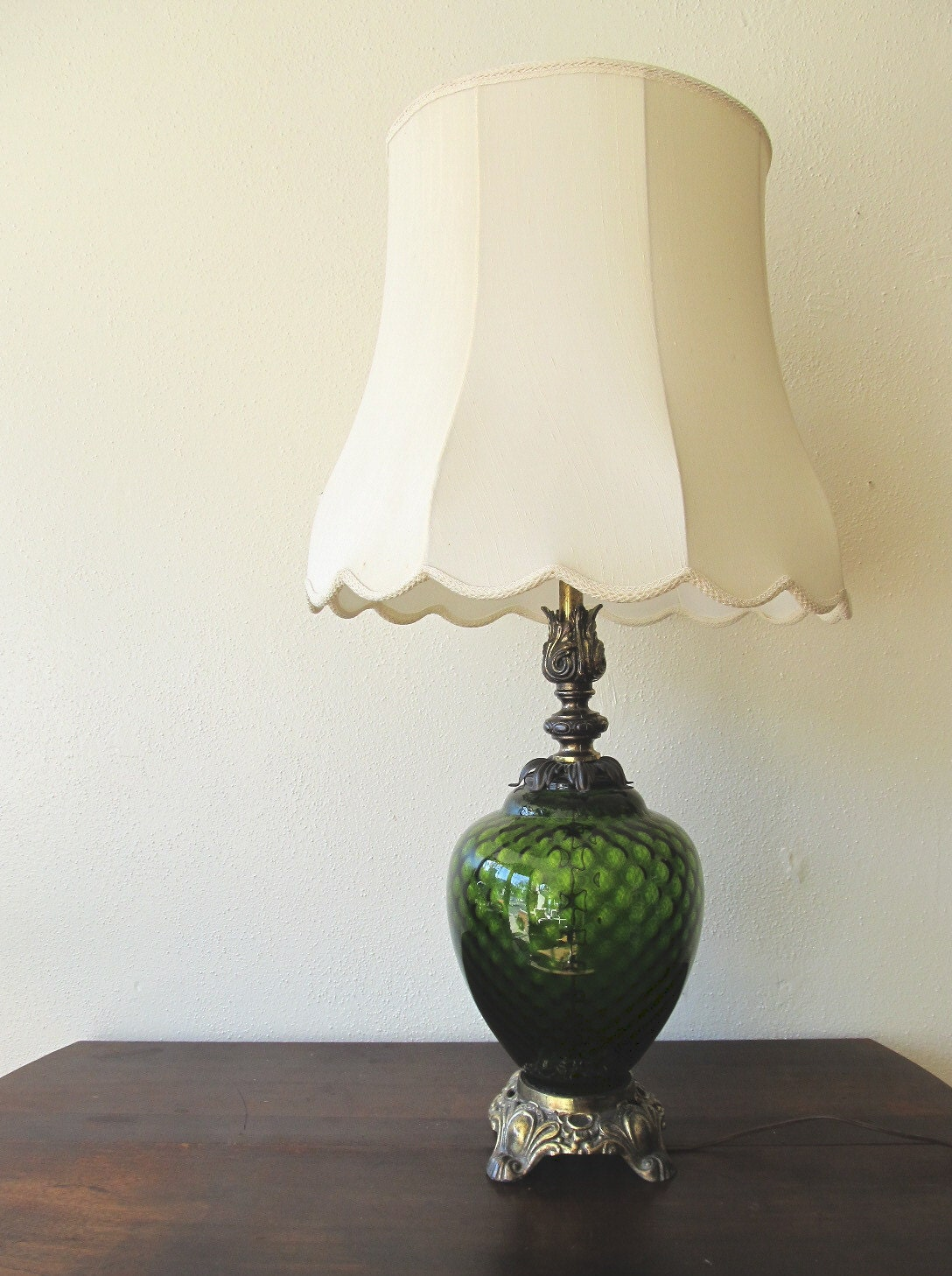 On Hold Vintage Green Glass Lamp