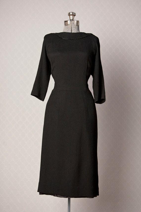1960s Black Dress // 60s Wiggle Dress // Black Vintage Dress
