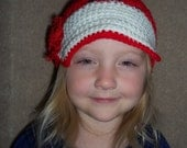 HAT-Newsboy Cap Girls Red and White with Red Shabby Chic Rose Hand Crochet Size 2-6