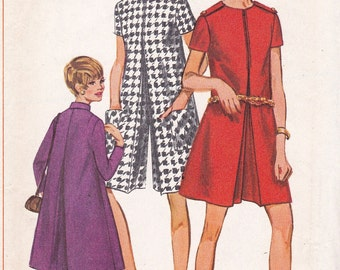 Vintage 60's  Simplicity 7299 - Mod Culottes PANTDRESS JUMPSUIT Knee & MINI Skirt Length - Womens Size 14 UNcut Sewing Pattern