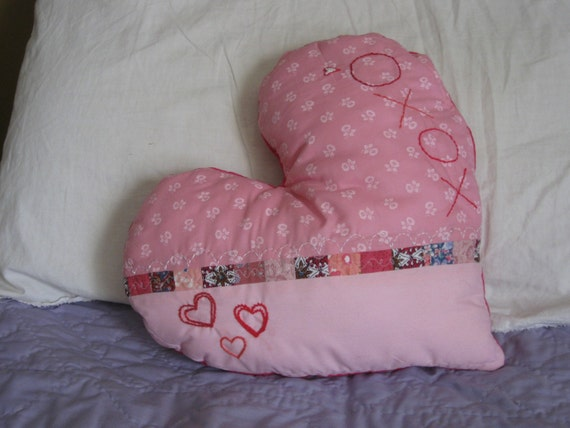 Pink Embroidered Heart Pillow