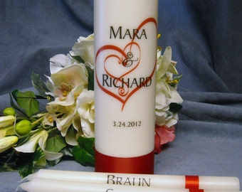 Unity Candle With Tapers Heart Design Personalized - Your choice of color