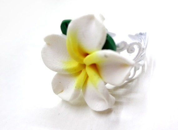 Polymer Clay Plumeria Flower Ring