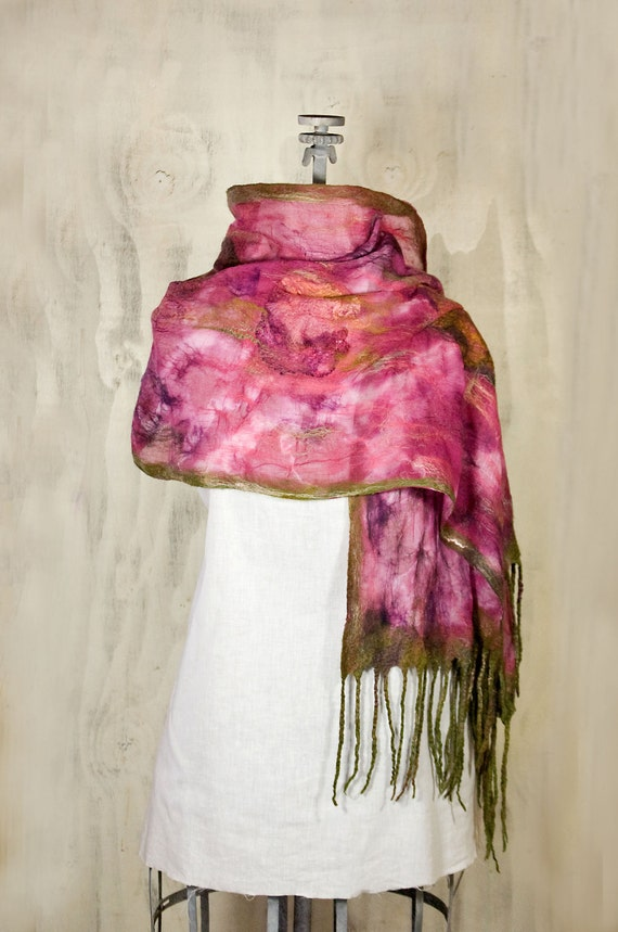 Nuno Felted Silk Scarf /Wrap Feminine Romantic Ultra Thin