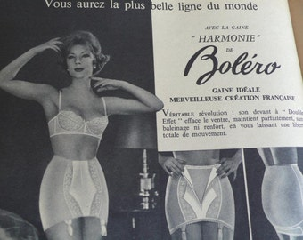Underwear Advert, Mid Century Advert, French Vintage magazine, 1961 fashion Journal, Home maker Images, Housewife Gift, Haberdashery Guide,