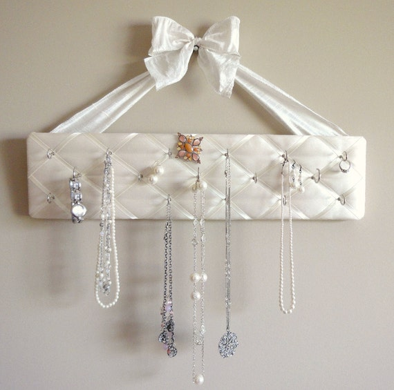 Original French Jewelry Hanger, DeLux - Beautiful Ivory Silk with Ivory Fabric Bow - READY TO SHIP
