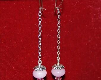 "Pink Jade Sterling Silver Chain Dangle Earrings--""Pink Sorbet"""