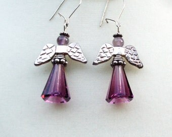 """Amethyst with Purple Swarovski Crystal and Sterling Silver Angel Dangle Earrings--""""Angelique"""""""