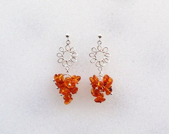 "Amber Chip Cluster Sterling Silver Flower Post Earrings--""Amber Ambiance"""