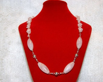 "Rose Quartz and Pink Swarovski Crystal Sterling Silver Necklace--""Calm Serenity"""