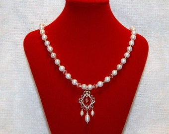 """White Pearl and Swarovski Crystal Sterling Silver Fancy Necklace--""""Pearly Gates"""" For Bride, Wedding, Formal Celebrations"""