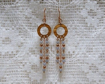 """Angelite with Copper and Wood Chandelier Earrings--""""Angels of the Woods"""""""