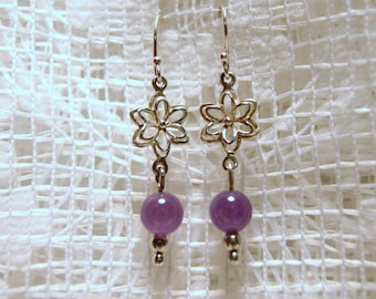 "Amethyst and Sterling Silver Flower Dangle Earrings--""Spring Arrival"""