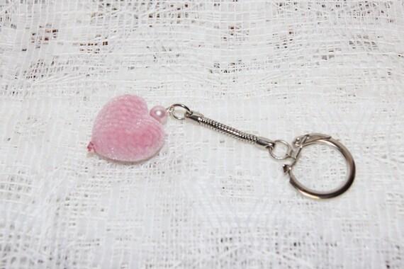 """Pink Flocked Velvet Heart Keychain--""""Fuzzy Feeling"""""""