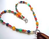 Multicolored Gemstone Necklace, Gemstone Eyeglass Holder, Colorful Lariat, JUST REDUCED