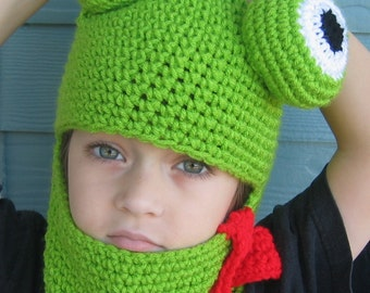 Crochet Hat Pattern Frog Hat Hood for Adult Child Boy or Girl - FREE Bow Tie Pattern - Easy Crochet PDF - Permission to Sell p126