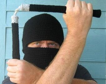 Crochet Pattern toy Crochet Hat Pattern - Ninja Hood and Nunchucks Amigurumi -PDF- accessory for Adults Children Boy Ninja, Cat/Dog Toy