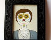 Day of the Dead Sugar skull Hipster boy print Halloween Illustration 5x7