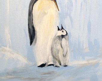 Original wildlife, acrylic painting, Father and Son Penguin, 16x20, Gaylord Perry painting, stretched canvas, art on canvas, art for sale