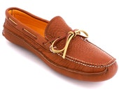 Mens Moccasin Buffalo Hide Canoe Moc in Tobacco Brown Deerskin Lined