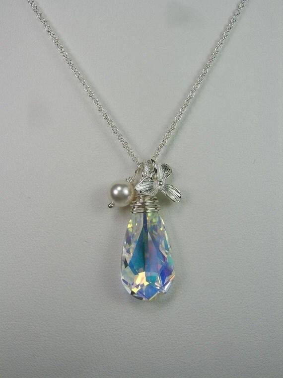 Bridesmaid Jewelry Swarovski Crystal Necklace Bridesmaid Gift Bridesmaid Necklace Orchid Bridal Necklace Bridal Jewelry Wedding Jewelry