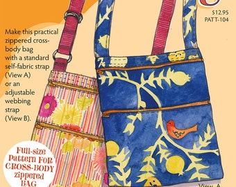 Purse pattern for cross body bag with zippers and 3 pockets