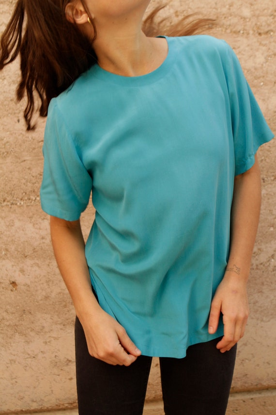 turquoise SILK 90s OVERSIZE large SLOUCHY short sleeve blouse