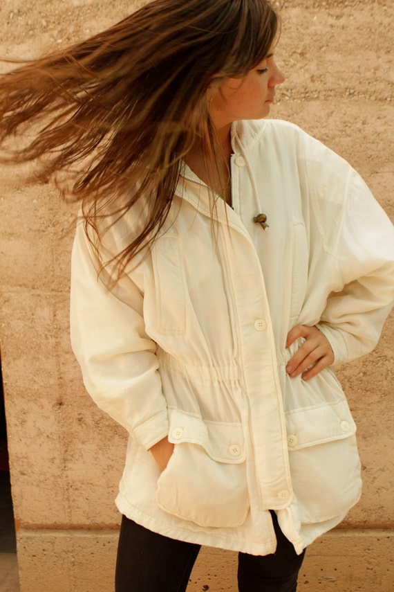 90s white SILK parka TOGGLE waist HOODED jacket coat