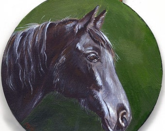 Custom painted pet portrait horse art Ornament in Acrylic of One Horse, Dog, Cat, Unique Gift,  Animal lovers and unique christmas gifts