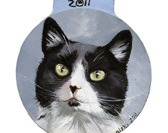 Custom Pet Ornaments, cat ornament, cat portrait. Hand Painted By Mylissa Kowalski, Acrylic, Christmas ornament, gift, pet memorial, animals