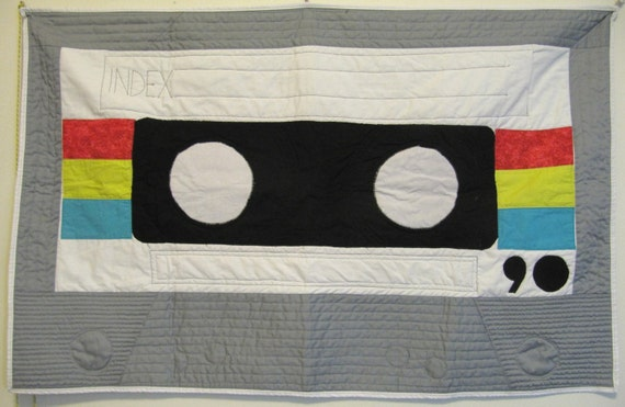 Custom Made - Cassette Tape Quilt - Baby Quilt or Wallhanging
