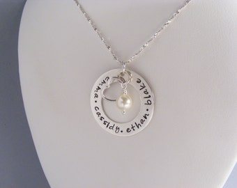 Personalized Mother's Necklace - Children's Name Necklace - Custom Name Jewelry - Hand Stamped Necklace - Engraved Necklace - Mom Jewelry -