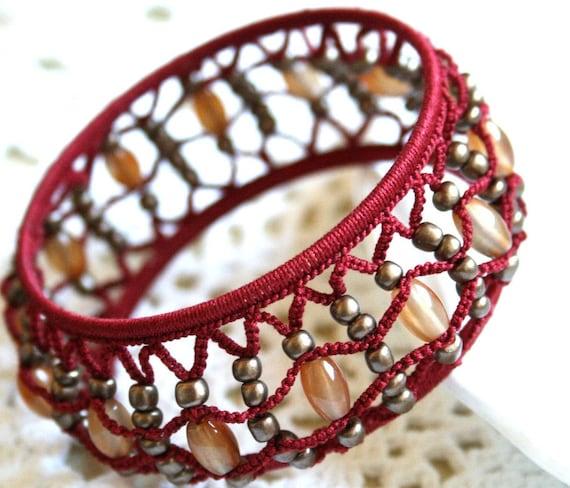 Red Tatted Beaded Bangle Bracelet DeepTerra Cotta Cotton Fiber