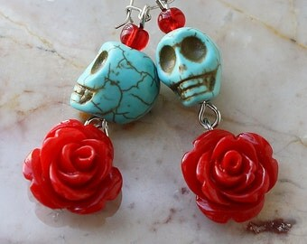 Day of the Dead Dia de los Muertos Frida Señorita Red Rose Turquoise Skull Dangle Hypoallergenic Earrings