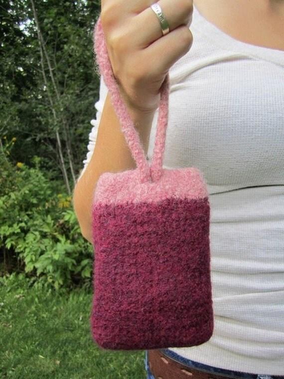 ipod case, cell phone wristlet, crocheted bag, handmade felted wool