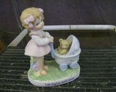 "NO SHIPPING Darling Girl with Doll Stroller Bear ""Life begins with Jesus"" Lefton figurine CT0415V"