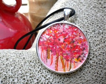Cherry Blossom Necklace, hand painted sakura necklace, pink cherry trees, sakura trees necklace, cherry forest, original watercolor painting