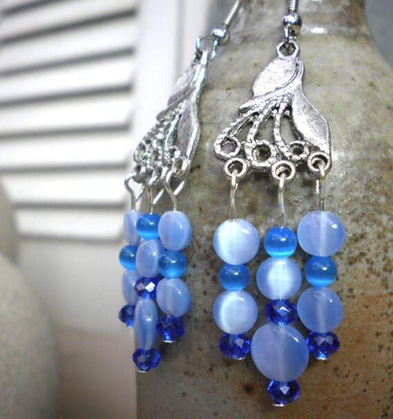 Blue Chandelier Earrings - long earrings in blue cat eye