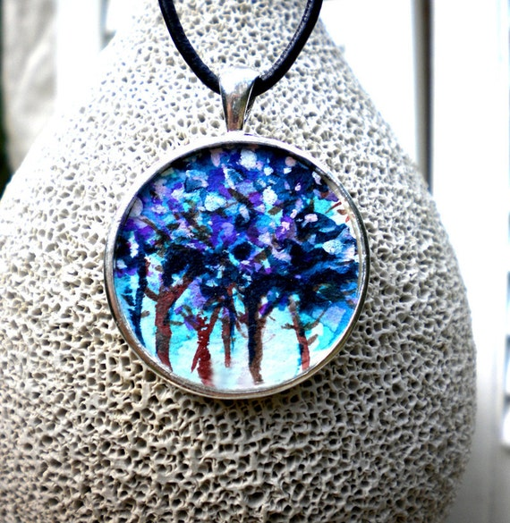 Blue Trees Necklace hand painted original tiny painting art jewelry forest pendant
