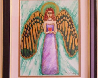 Red Haired Angel Original Watercolor painting