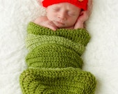 My Very Hungry Caterpillar Newborn Hat and Cocoon Crochet Pattern -- Photography Prop (546)