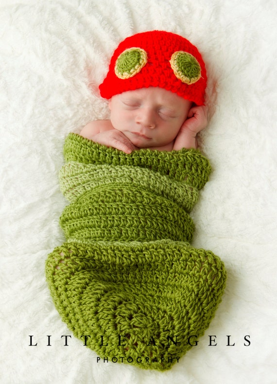 Crochet Caterpillar Baby Outfit Pattern : My Very Hungry Caterpillar Newborn Hat and Cocoon by ...
