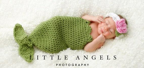 Mermaid Cocoon and Headband Crochet Pattern Photography Prop (551)