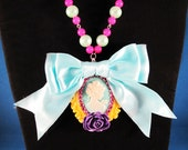 Fairy Kei Cameo Party Necklace with Turquoise, Magenta and Seafoam Accents