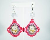 Fairy Kei Cat Pink Filigree Cameo Earrings with Rhinestone Chain Sparkle