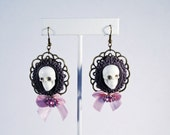 Punk Rock Purple Skull Cameo Earrings with Pink Bow