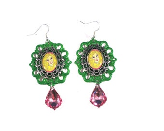 Kitschy Barbie Green Cameo Earrings with Pink Acrylic Jewel Drop